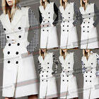 Womens Winter Double Breasted Detachable Sleeve Collar Trench Coat Jacket 1407