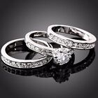 Swarovski 3-in-1 Engagement Wedding Ring 18K White Gold Jewelry Crystal mot AMP1