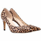 Womens Cut Away High Heels Court Shoes Sandals  Leopard Patent Leather Size 2-9