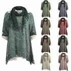 Ladies Womens Lagenlook Layered Scarf Floral MeshTunic Collar Shirt One Size Top