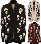 New Plus Size Womens Skull Pattern Long Sleeve Knitted Top Ladies Cardigan 16-22