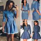 Womens Long Sleeve Denim Jeans Short Mini Dress Sexy Casual V Neck Shirt Dress