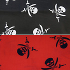 Skull and Cross Swords Pirate Flag Halloween Polycotton Print Fabric 150cm Wide