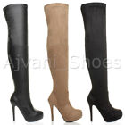 WOMENS LADIES HIGH HEEL ZIP STRETCH CONCEALED PLATFORM OVER THE KNEE BOOTS SIZE