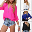 Women's Ladies Chiffon Tops Zipper Long Sleeve V-neck Loose Casual Blouse Shirt