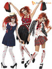 Adult Ladies Zombie School Girl Cheerleader Womens Halloween Fancy Dress Costume
