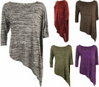 Plus Size Womens 3/4 Cap Sleeve Knitted Baggy Oversize T-Shirt Ladies Top 12-26