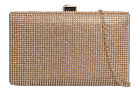Shimmer Satin Compact Hard Case Diamante Clutch Bag Evening Party Wedding Prom