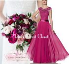 BRYONY Raspberry Pink Lace Chiffon Maxi Bridesmaid Ballgown Dress UK Sizes 6 -18