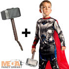 Thor + Hammer Boys Fancy Dress Superhero Marvel Avengers Kids Childs Costume New