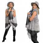 BRAND NEW URBAN MIST SLEEVELESS WATERFALL  FAUX FUR CARDIGAN CAPE COAT - GREY