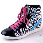 NEW WOMENS BLACK WHITE ZEBRA HIGH TOP LACEUP WEDGE SNEAKER