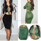 Sexy 2 Pieces Women Bodycon Bandage Midi Dresses Party Tops&Skirt Outfit Set A51