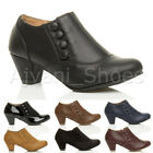 WOMENS LADIES LOW MID HEEL BUTTONS ZIP SMART WORK ANKLE SHOE BOOTS BOOTIES SIZE