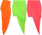 Womens Ruched Wrap Drape Neon Stretch Asymmetric Ladies Split Midi Skirt 8-14