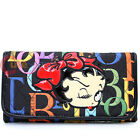 Betty Boop Quilted Check Book Long Wallet Ladies Wallet - Rainbow Typo Black