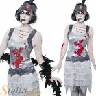 Ladies Zombie Flapper Charleston 20s Halloween Womens Fancy Dress Costume Outfit