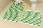 New Green 100% Cotton Bathroom Mats Set - Washable Bath & Pedestal Mat Sets