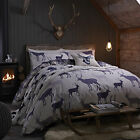 Catherine Lansfield Stag Brushed Cotton Navy Beige Duvet Quilt Cover Bedding Set