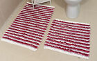 New Purple 100% Cotton Bathroom Mats Set - Washable Bath & Pedestal Mat Sets