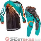 Fly Racing 2016 Youth Kinetic Trifecta Black Teal Orange Motocross Kit Off Road