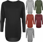 New Womens Baggy Plain Oversized Batwing Long Sleeve Knitted Dip Hem Ladies Top
