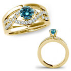 1 Ct Blue Diamond Halo Engagement Infinity Bridal Ring Band 14K Yellow Gold