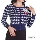 HELL BUNNY Ladies MARELLA 50s Nautical Sailor Cardigan Blue All Sizes