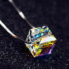 925 Sterling Silver Chain AB White Swarovski Crystal Cube Wedding Necklace N191