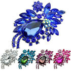 Women Teardrop Flower Rhinestone Brooch Pin Broach Banquet Badge Breastpin