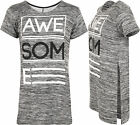 Womens Awesome Slogan Print Side Slit Cut Open Knitted T-Shirt Ladies Top 8-14