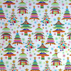 Per half metre/ FQ 100 % cotton Christmas fabric celebration trees white /multi