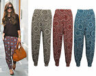 Womens Long Aztec Print Harem Pants Ladies Jersey Plain Alibaba Trousers 16-26