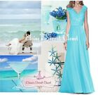 HELENA Aqua Blue Lace Chiffon Bridesmaid Ballgown Prom Dress UK Sizes 6 -18