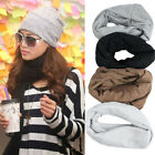 Women Winter Knitted Wool Warm Cap Hat Crochet Warm Solid Soft Scarf Xmas Gift