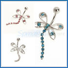 14g Crystal Rhinestone Dragonfly Navel Dangle Belly Button Ring Bar Jewelry Vary