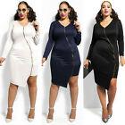 Women Sexy Cocktail Party Evening Long Sleeve Bodycon Club Mini Dress Plus Size