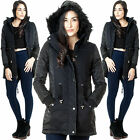 New Womens Parka Coat Faux Fur Hooded Quilted Panel Winter Jacket XS S M L XL 12