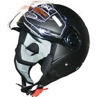 LEOPARD LEO-605 Open Face Motorbike Helmet Motorcycle Scooter Retro Matt Black