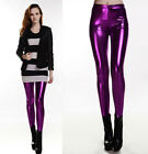 Lady Shiny Wet Liquid Look PU Faux Leather Metallic Stretch Leggings Party Dance