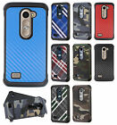 For LG Tribute 2 Rubber IMPACT TRI HYBRID Hard Case Skin Cover +Screen Protector