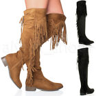 WOMENS LADIES FLAT LOW HEEL TASSEL FRINGE OVER THE KNEE HIGH 70'S BOOTS SIZE