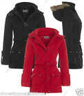 NEW Womens MILITARY Ladies DUFFLE PARKA JACKET COAT Size 8 10 12 14 16 Black Red