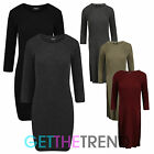 Knitted Rib Tunic Dress Ladies Womens Girls Ribbed Split Slit 3/4 Sleeve Dress