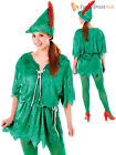 Ladies Peter Pan Fancy Dress Costume Womens Pixie Elf Robin Hood Outfit Adults