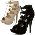 WOMENS LADIES HIGH HEEL PLATFORM CUT OUT GHILLIE LACE UP SANDAL BOOTS SHOES SIZE