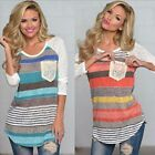 New Autumn Women Blouse Striped Lace Pocket O-neck Long Sleeve Casual Shirt Tops