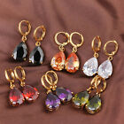 5Pairs Charms Plated Gold Waterdrop Rhinestones Inlayed Copper Studs Earrings LC