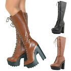 Ladies Womens Knee High Chunky Block Heel Platform Lace Up Boots Punk New Size