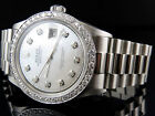 Mens Stainless Steel Rolex Datejust Presidential 36 MM MOP Diamond Watch 2.5 Ct
